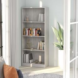 stradeXL 4-poziomowy regał na książki, betonowy szary, 60x24x142 cm