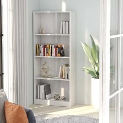 stradeXL 4-poziomowy regał, wysoki połysk, biały, 60x24x142 cm