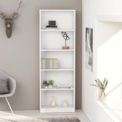 stradeXL 5-poziomowy regał na książki, biały, 60x24x175 cm