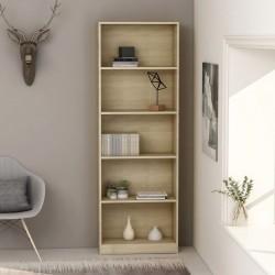 stradeXL 5-poziomowy regał na książki, dąb sonoma, 60x24x175 cm