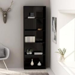 stradeXL 5-poziomowy regał na książki, wysoki połysk, czarny 60x24x175cm