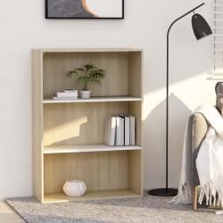 stradeXL 3-poziomowy regał na książki, biel i dąb sonoma, 80x30x114 cm
