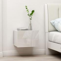 stradeXL Szafka nocna, biała, wysoki połysk, 40x30x30 cm, płyta wiórowa