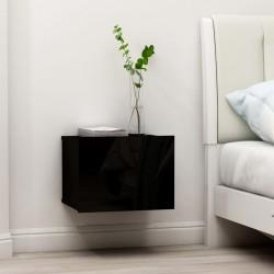 stradeXL Szafka nocna, czarna, wysoki połysk, 40x30x30 cm, płyta wiórowa