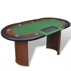 stradeXL Stół do pokera dla 10 graczy z tacą na żetony, zielony