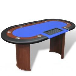 stradeXL Stół do pokera dla 10 graczy z tacą na żetony, niebieski