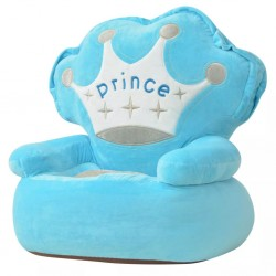 stradeXL Fotel dla dzieci PRINCE, pluszowy, niebieski