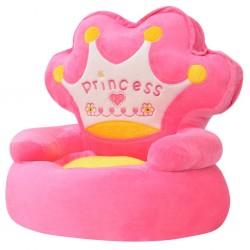stradeXL Fotel dla dzieci PRINCESS, pluszowy, różowy
