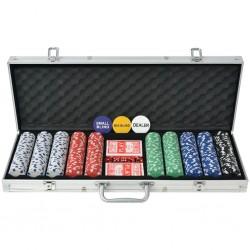 stradeXL Zestaw do gry w pokera 500 żetonów, aluminium