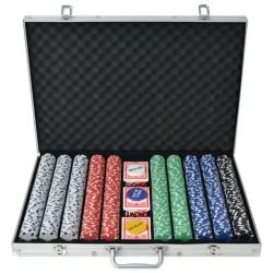 stradeXL Zestaw do gry w pokera 1000 żetonów, aluminium