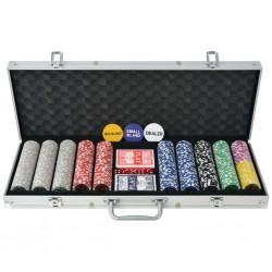 stradeXL Zestaw do gry w pokera 500 żetonów laserowych, aluminium