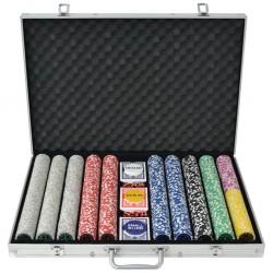 stradeXL Zestaw do gry w pokera 1000 żetonów laserowych, aluminium