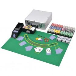 stradeXL Zestaw do gry w pokera i blackjacka, 600 żetonów laserowych, aluminium