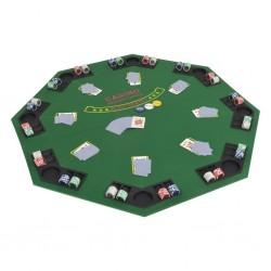 stradeXL Składany blat do pokera dla 8 graczy, ośmiokątny, zielony