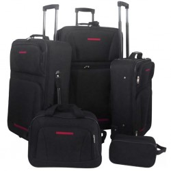 stradeXL Five Piece Travel Luggage Set Black