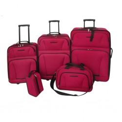 stradeXL Zestaw walizek podróżnych, 5 elementów, kolor czerwony