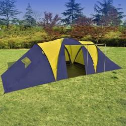 stradeXL Namiot kempingowy 9-osobowy, niebiesko-żółty