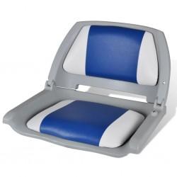 stradeXL Składany fotel na łódź, biało-niebieski z poduszką, 41x51x48 cm