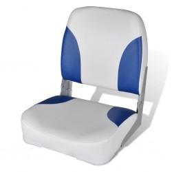 stradeXL Składany fotel na łódź, biało-niebieski z poduszką, 56x43x48 cm