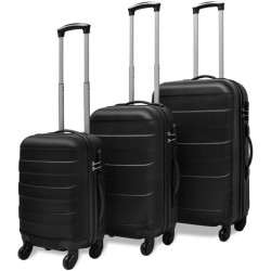 stradeXL Three Piece Hardcase Trolley Set Black