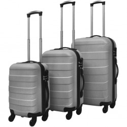 stradeXL Three Piece Hardcase Trolley Set Silver