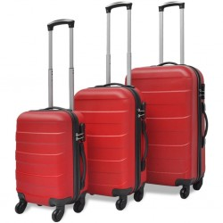 stradeXL Three Piece Hardcase Trolley Set Red