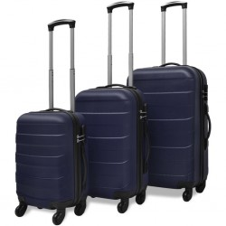 stradeXL Three Piece Hardcase Trolley Set Blue