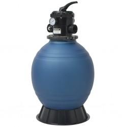 stradeXL Piaskowy filtr basenowy z zaworem 6 drożnym, niebieski, 460 mm