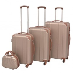 stradeXL Zestaw walizek na kółkach w kolorze szampańskim, 4 szt.
