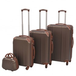 stradeXL Four Piece Hardcase Trolley Set Coffee