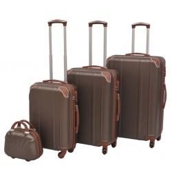 stradeXL Zestaw walizek na kółkach w kolorze kawy, 4 szt.