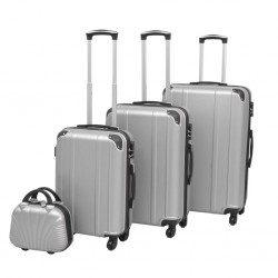 stradeXL Four Piece Hardcase Trolley Set Silver