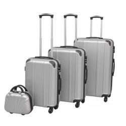 stradeXL Zestaw walizek na kółkach w kolorze srebrnym, 4 szt.