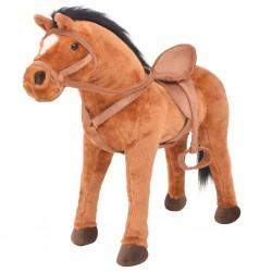 stradeXL Standing Toy Horse Plush Brown