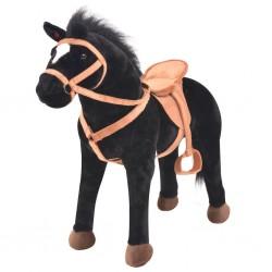 stradeXL Standing Toy Horse Plush Black