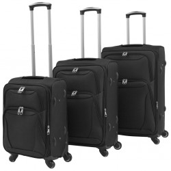 stradeXL 3 Piece Soft Case Trolley Set Black
