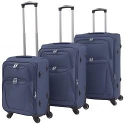 stradeXL 3-częściowy komplet walizek podróżnych, granatowy