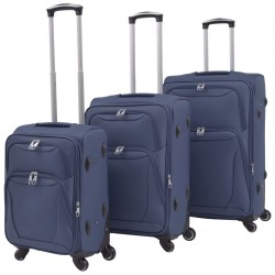 stradeXL 3 Piece Soft Case Trolley Set Navy Blue