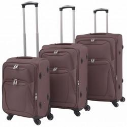 stradeXL 3-częściowy komplet walizek podróżnych, kawowy