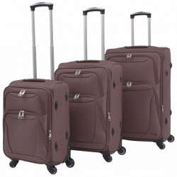 stradeXL 3 Piece Soft Case Trolley Set Coffee