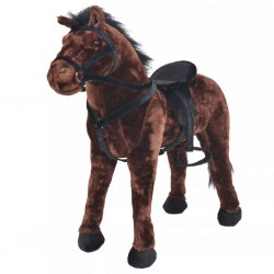 stradeXL Standing Plush Toy Horse Dark Brown XXL