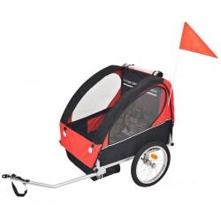 stradeXL Rowerowa przyczepka dla dzieci, czerwono-czarna, 30 kg