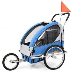 stradeXL Rowerowa przyczepka dla dzieci/wózek 2-w-1, niebieski i szary