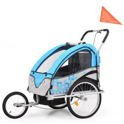 stradeXL 2-in-1 Kids' Bicycle Trailer & Stroller Light Blue and Grey
