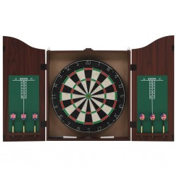 stradeXL Professional Dart Set with Dartboard and Cabinet Sisal Steel
