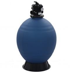 stradeXL Piaskowy filtr basenowy z zaworem 6 drożnym, niebieski, 660 mm