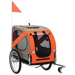 stradeXL Przyczepka rowerowa dla psa, pomarańczowo-brązowa