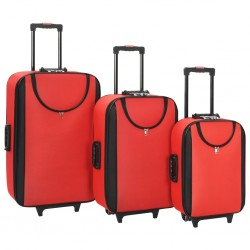stradeXL Soft Case Trolleys 3 pcs Red Oxford Fabric