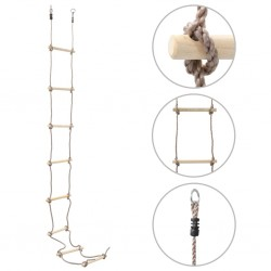 stradeXL Drabinka sznurowa dla dzieci, 290 cm, drewniana