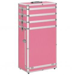 stradeXL Wózek na akcesoria do makijażu, aluminiowy, różowy